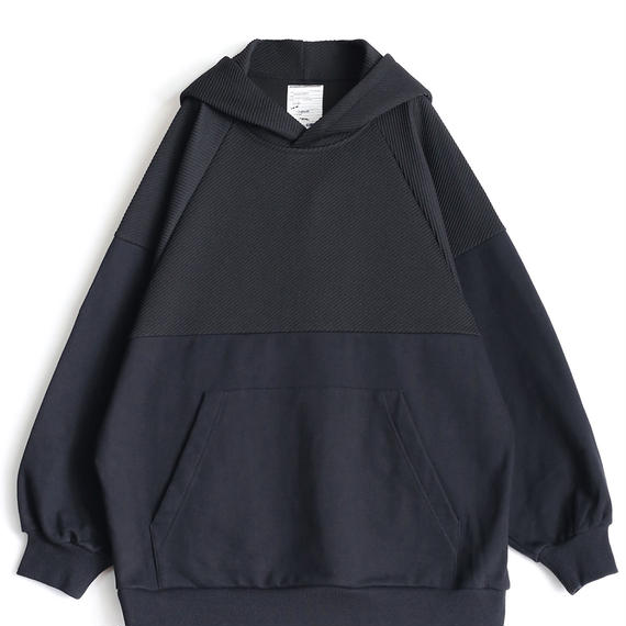 SHAREEF TWILL KNITTED SWICTING HOODIE(Black)