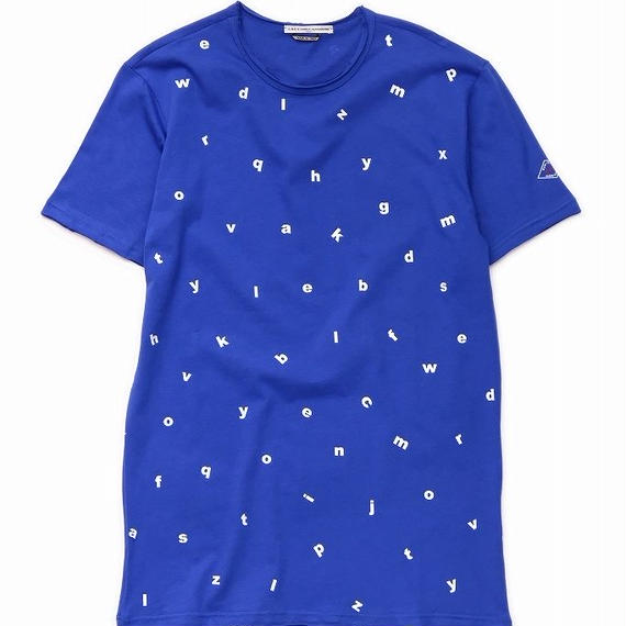 DANIELE ALESSANDRINI ENGLISH LETTERS T-SHIRT(BLUE)