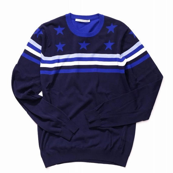 DANIELE ALESSANDRINI STAR AND BORDER KNIT(NAVY)