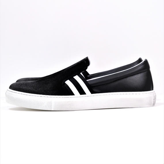 DANIELE ALESSANDRINI STRIPE GORE LEATHER SLIP-ON(BLACK)