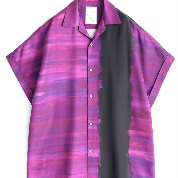 SHAREEF PATTERNED ALL OVER S.S BIG SHIRTS(Purple)