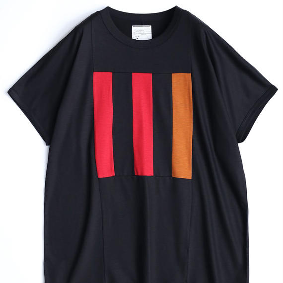 "SHAREEF Ly/C SINGLE JERSEY BIG-T""LINE""(Black×Red)"