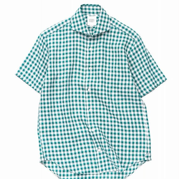 FEEL EASY ORIGINAL マイクロチェックリネン半袖シャツ(Green)