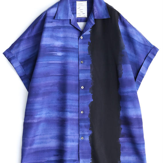 SHAREEF PATTERNED ALL OVER S/S BIG SHIRTS(Navy)