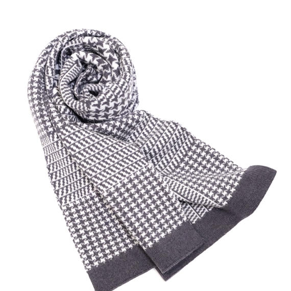 JENNIFER KENT PRINCE OF WALES CHECK SCARF(CHARCOAL)