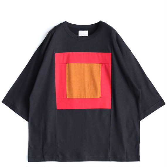 "SHAREEF Ly/C SINGLE JERSEY BIG-T""SQUARE""(Black×Red)"
