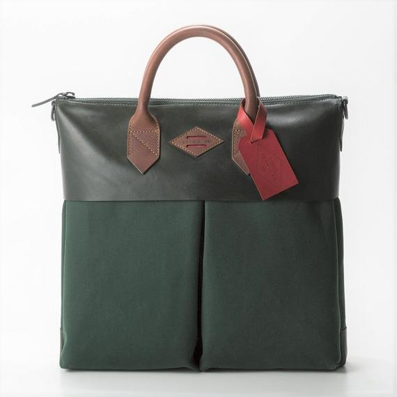 LEON FLAM Sac21H Comte de la Vaulx/Leather×Camvas(Green)