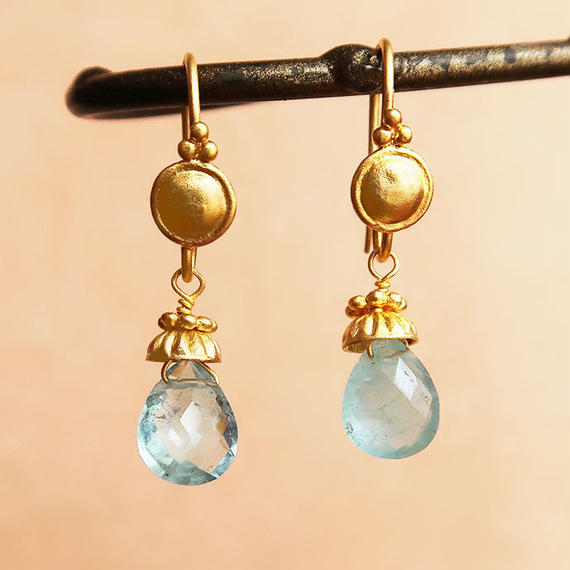 Petit Bell { Earrings } aquamarine