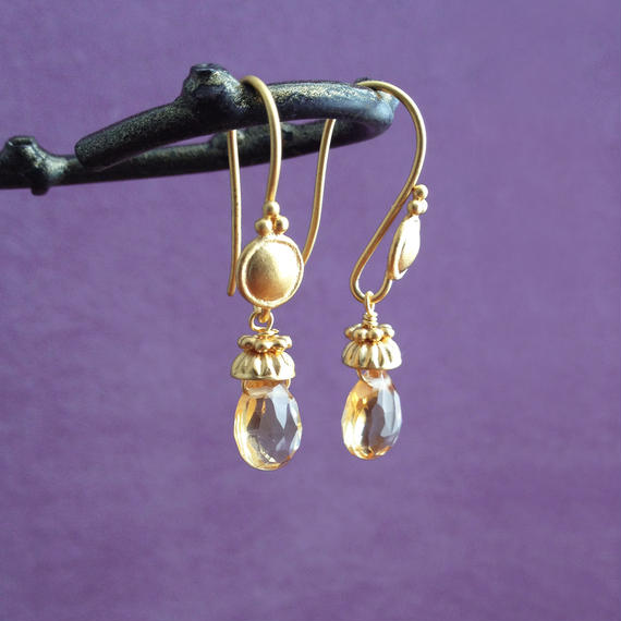 Petit Bell { Earrings } citrine