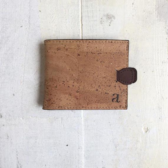 Aasha プルタブ付二つ折り財布~ナチュラル×ブラウン~ コルク製