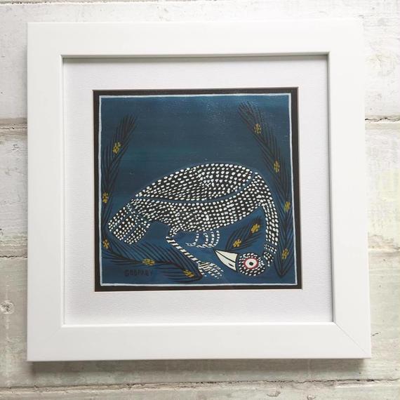 TINGATINGA  African Art (ティンガティンガ) 「ホロホロ鳥~ブルー~」ゴットフレイ