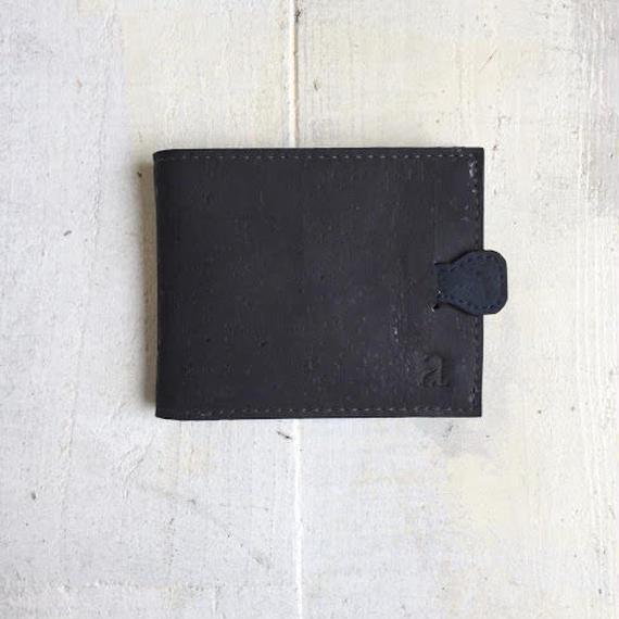 Aasha プルタブ付二つ折り財布~ブラック×ブルー~ コルク製