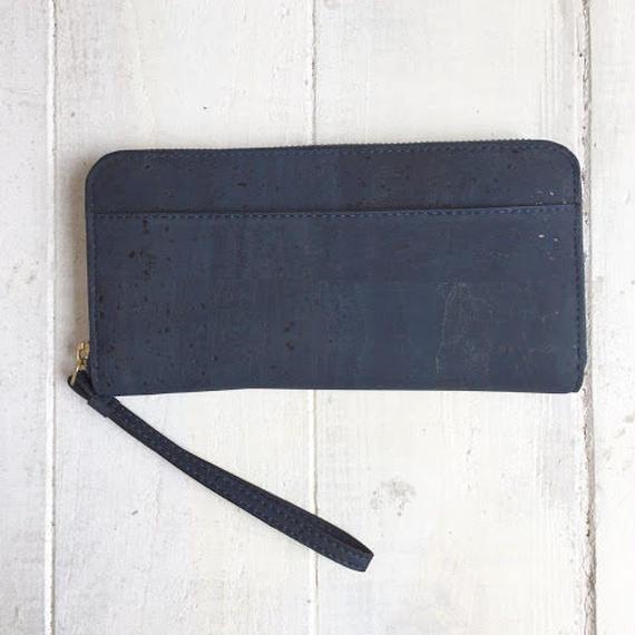 Aasha ラウンドファスナー長財布~Blue~ コルク製