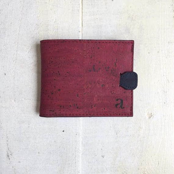 Aasha プルタブ付二つ折り財布~レッド×ブルー~ コルク製