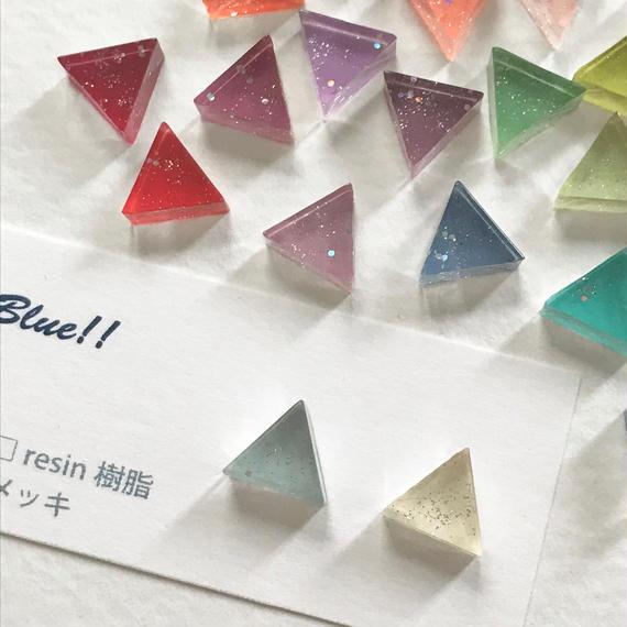 三角クリアイヤリング(片耳)/選べる26カラー《受注生産》