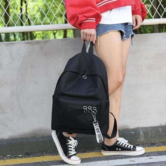 リュック ブラック バッグ バックパック オルチャン 韓国 リング付き モード系 カジュアル ホワイト ピンク ブラック