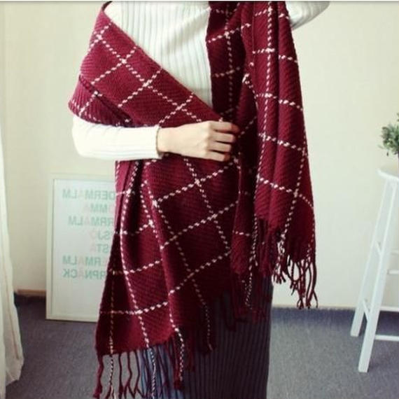 check knit long muffler