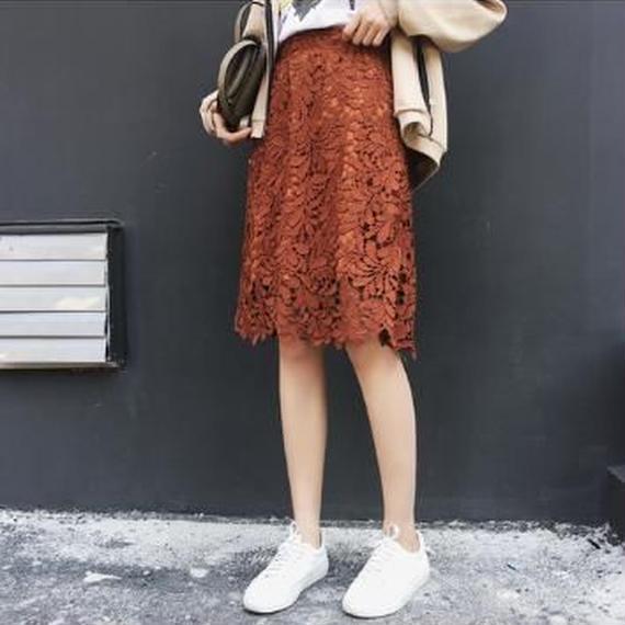 花柄 レース スカート ハイウエスト フレア Aライン 膝丈 肌見せ 上品 華やか オールシーズン フリー ダークオレンジ