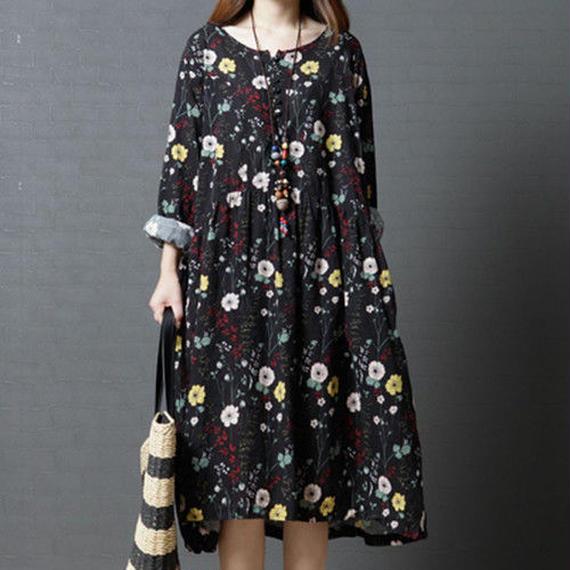 レディース 綿 ワンピース ドレス 花柄 フレアワンピース 長袖 シルエット パーティー 体型カバー ゆったり 着痩せ M L