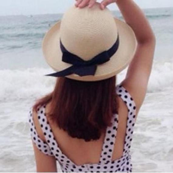 麦わら帽子 レディース リボン 大きい つば広 紫外線対策 春 夏