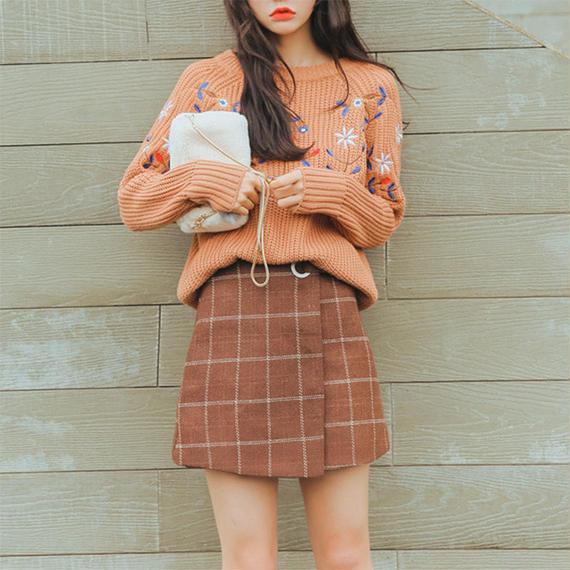 A line Check mini Skirt