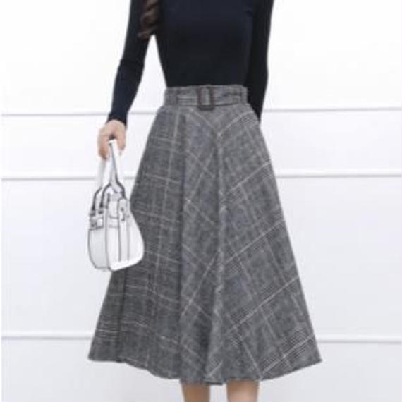 glen check flare skirt