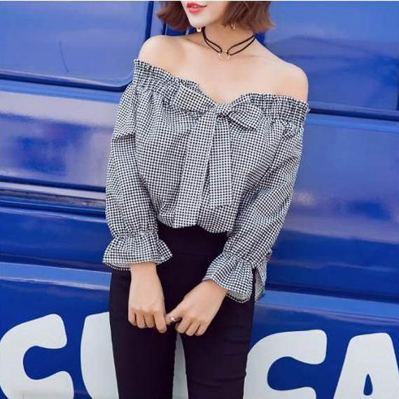 Gingham check off shoulder  Blouse