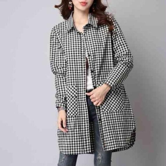 白黒チェック シャツ ロング丈 ワンピース チュニック レディース スタイリッシュ な ファッション Mサイズ