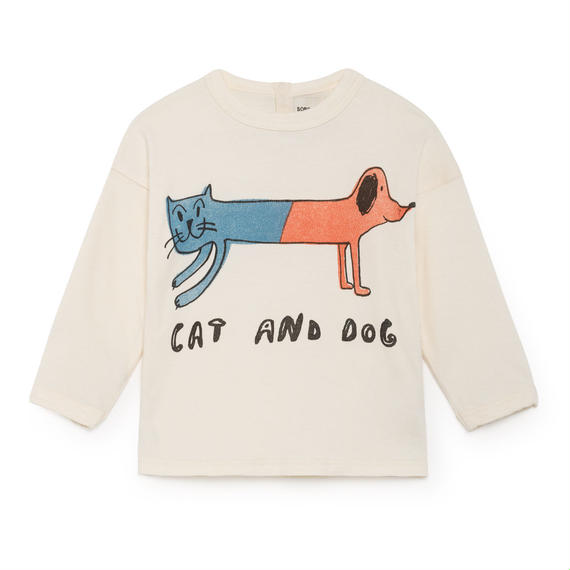 【 Bobo Choses 2018AW 】218161 Cat And Dog Round Neck T-Shirt