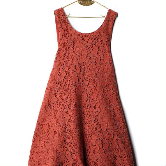 【 WOLF&RITA 2018AW 】 CLARICE - Dress / BRICK LACE