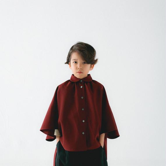 【 nunu forme 2018AW 】10-537-009 マント風ブラウス / Deep red