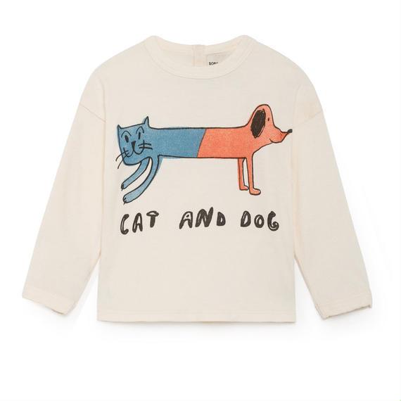 【 Bobo Choses 2018AW 】218001 Cat And Dog Round Neck T-Shirt