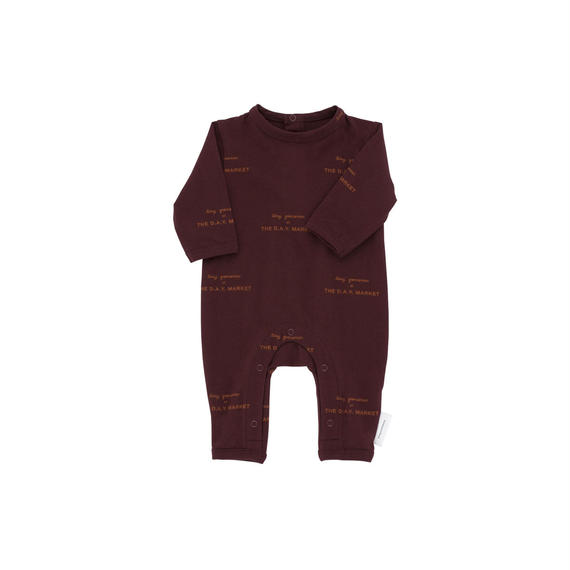 【 tiny cottons 2018AW 】 AW18-015 tiny groceries ls one-piece / plum/brick / 6-12m