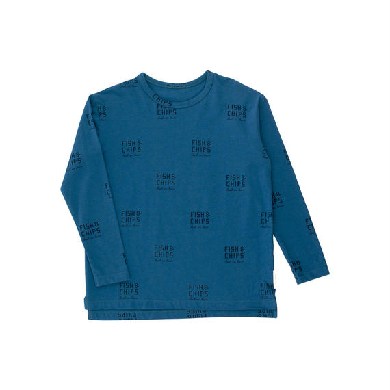 【 tiny cottons 2018AW 】 AW18-013 fish and chips ls relaxed tee / light navy/navy