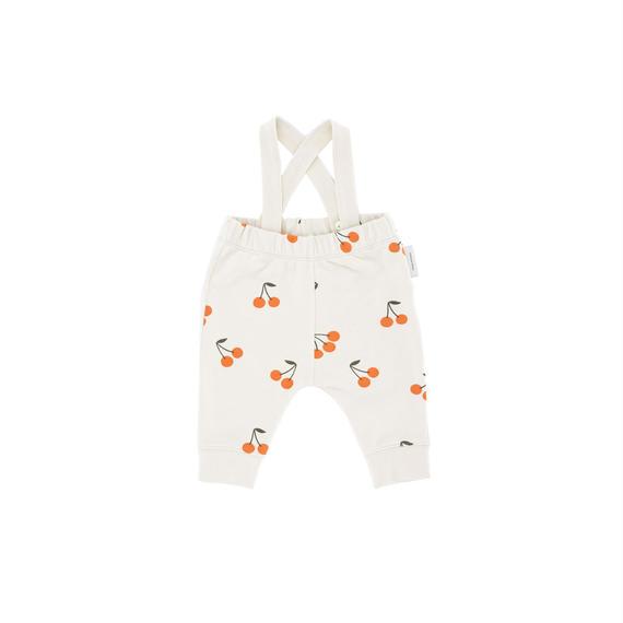 【 tiny cottons 2018AW 】 AW18-067 cherries fleece braces pant / beige/dark green/red