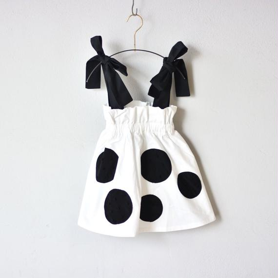 【 franky grow 2018SS 】UNEVEN DOTS STRAP SKIRT / WHITE
