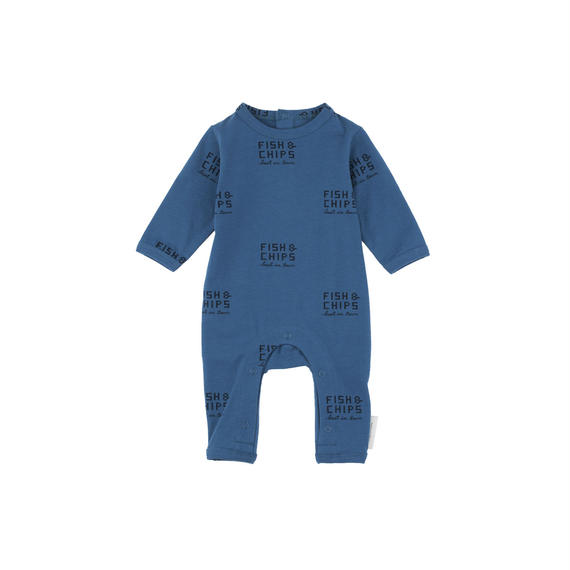 【 tiny cottons 2018AW 】 AW18-012 fish and chips ls one-piece / light navy/navy / 6-12m