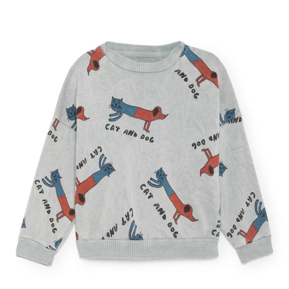 【 Bobo Choses 2018AW 】218028 Cats and Dogs Round Neck Sweatshirt