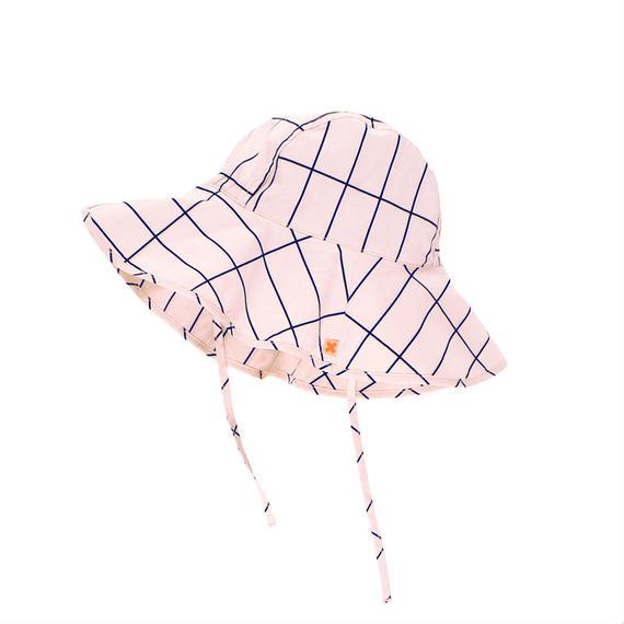 【tiny cottons 2017SS】SS17-222 grid sun hat / pale pink / dark navy