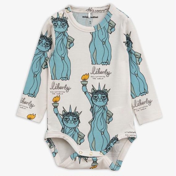 【 mini rodini 2018AW 】40156  Liberty aop ls body / light blue / 68/74cm