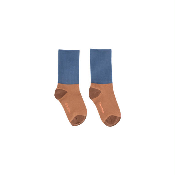 【 tiny cottons 2018AW 】 AW18-253 rib medium socks / terracotta/light navy