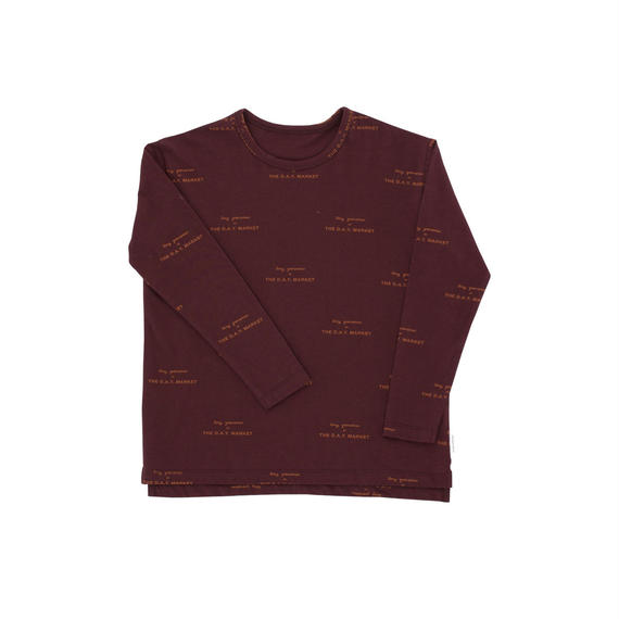 【 tiny cottons 2018AW 】 AW18-016 tiny groceries ls relaxed tee / plum/brick