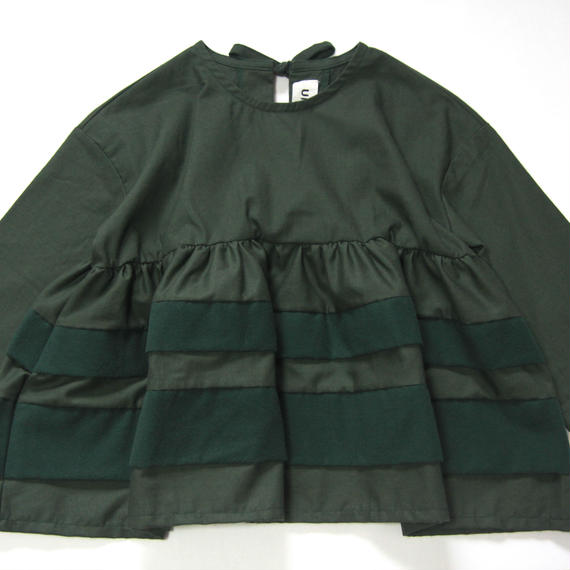 【 UNIONINI 2018AW 】 BL-007 layer blouse / green
