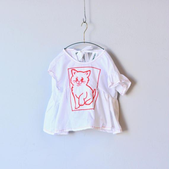 【 UNIONINI 18SS 】 cat blouse / white  / 80〜140cm   (BL-003)