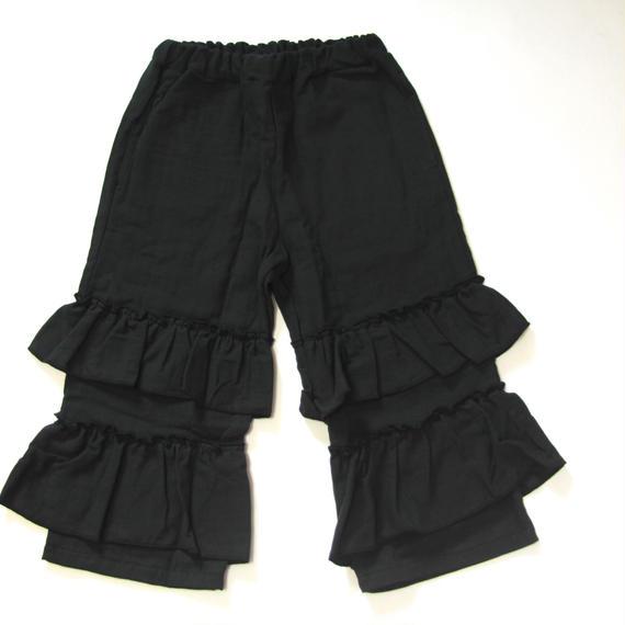 【 UNIONINI 2018AW 】 PT-058 gauze frill pants  / black / Women M