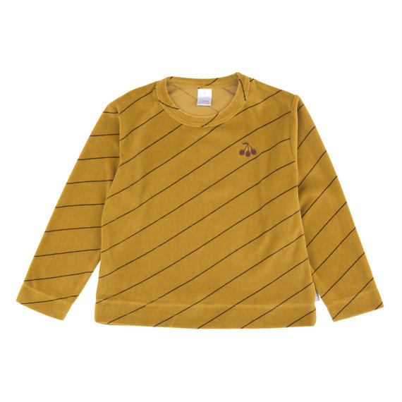 【 tiny cottons 2018AW 】 AW18-102 diagonal stripes plush sweatshirt / mustard/plum