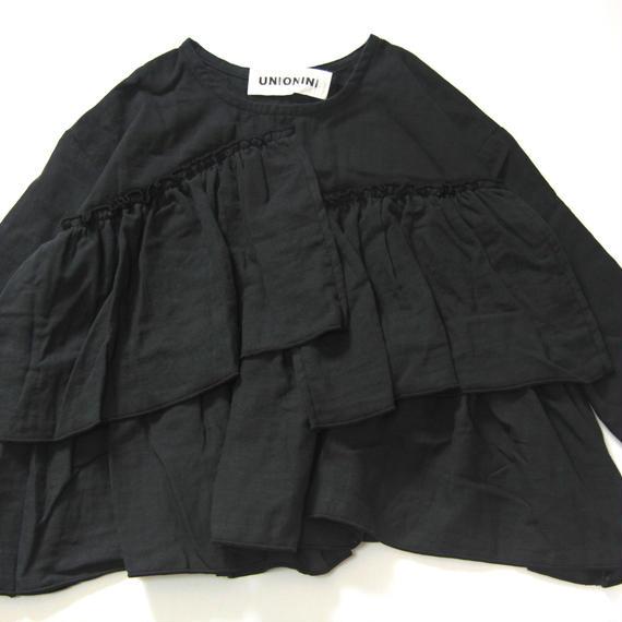 【 UNIONINI 2018AW 】 BL-006 gauze frill blouse  / black / 10-12Y