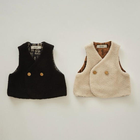 【予約商品】【 eLfinFolk 2018AW 】elf-182F36 sheep boa baby vest / black / 80-100cm