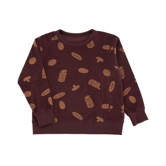 【 tiny cottons 2018AW 】 AW18-092 groceries towel sweatshirt / plum/terracotta