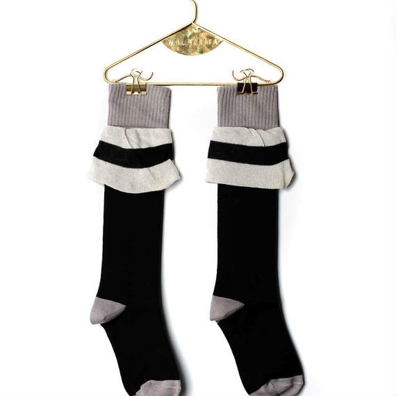【 WOLF&RITA BABY 2018AW 】 BABY LONG SOCKS GIRL / FRILL BLACK